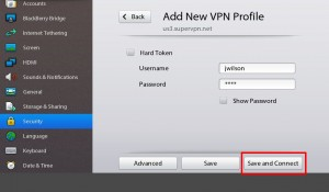 Blackberry Playbook VPN Settings