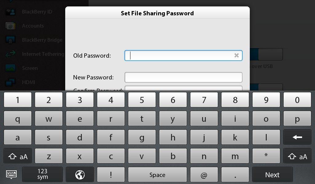 Blackberry Playbook VPN Settings