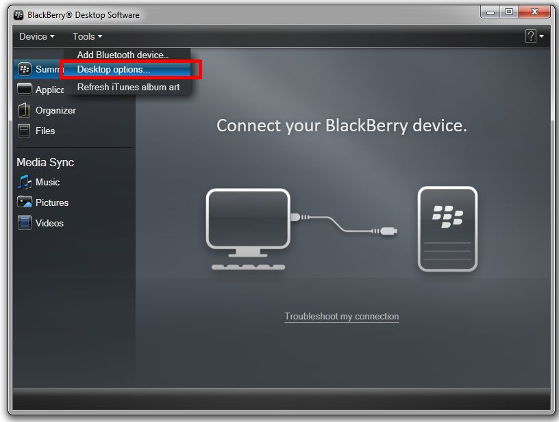 how to connect blackberry z10 to pc via usb